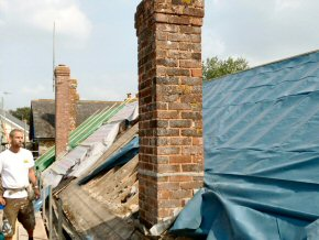 Old chimney waiting to be removed at Payhembury School